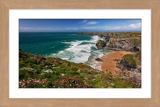 Wildflowers at Bedruthan Steps - Framed Print with Mount