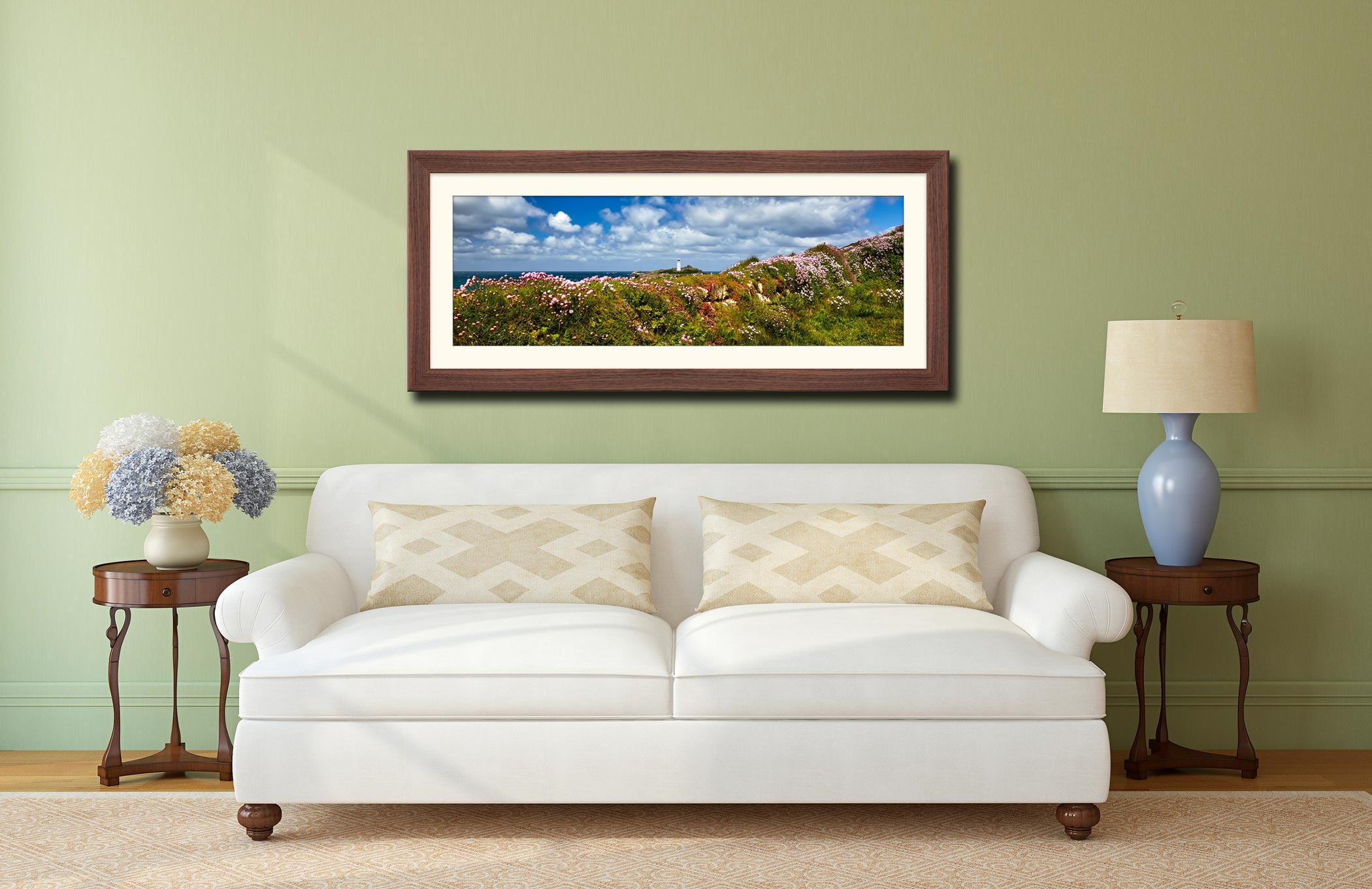 Wildflowers at Godrevy - Framed Print with Mount on Wall