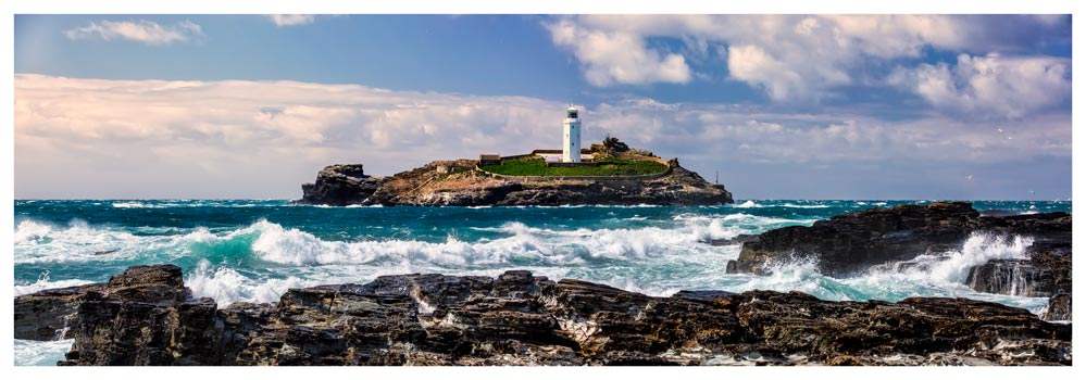 Godrevy Lighthouse Panorama - Prints of Cornwall