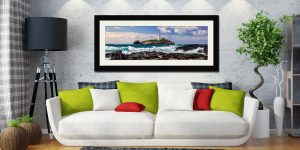 Godrevy Lighthouse Panorama - Framed Print with Mount on Wall