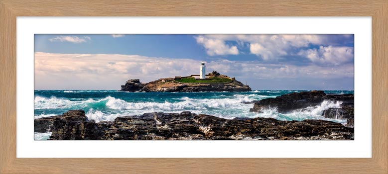 Godrevy Lighthouse Panorama - Framed Print with Mount