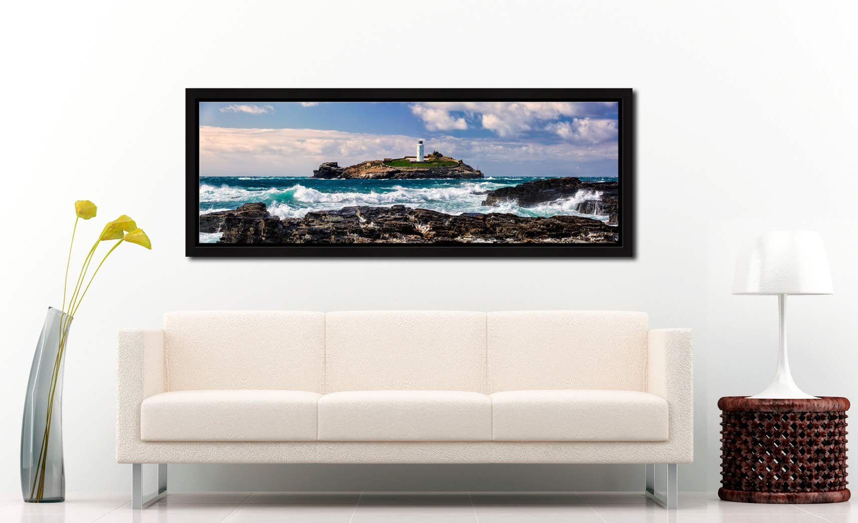 Godrevy Lighthouse and the rocks of Godrevy Point on a breezy spring afternoon - Black oak floater frame with acrylic glazing on Wall
