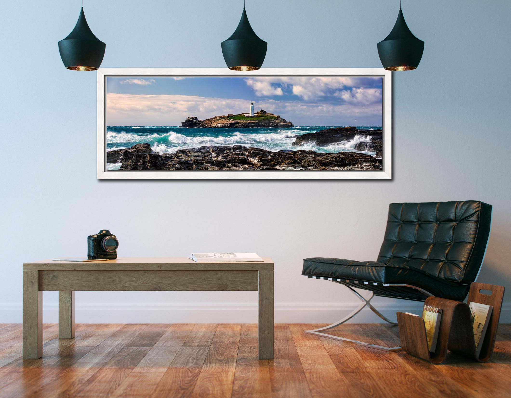 Godrevy Lighthouse and the rocks of Godrevy Point on a breezy spring afternoon - White Maple floater frame with acrylic glazing on Wall
