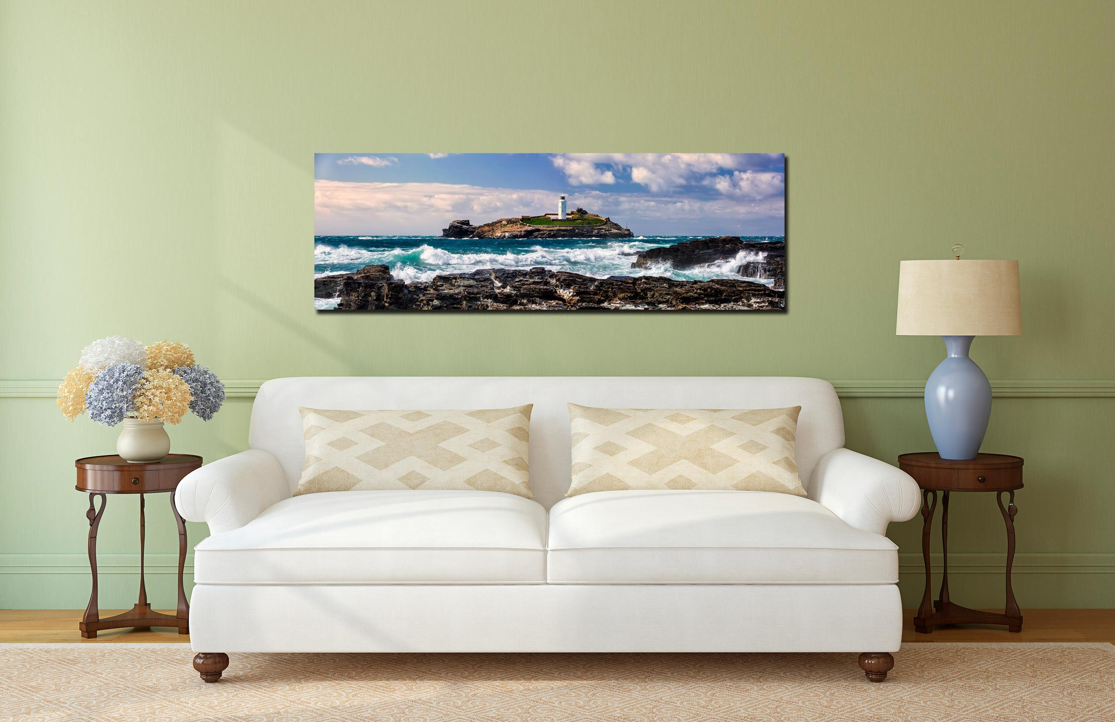 Godrevy Lighthouse and the rocks of Godrevy Point on a breezy spring afternoon - Print Aluminium Backing With Acrylic Glazing on Wall