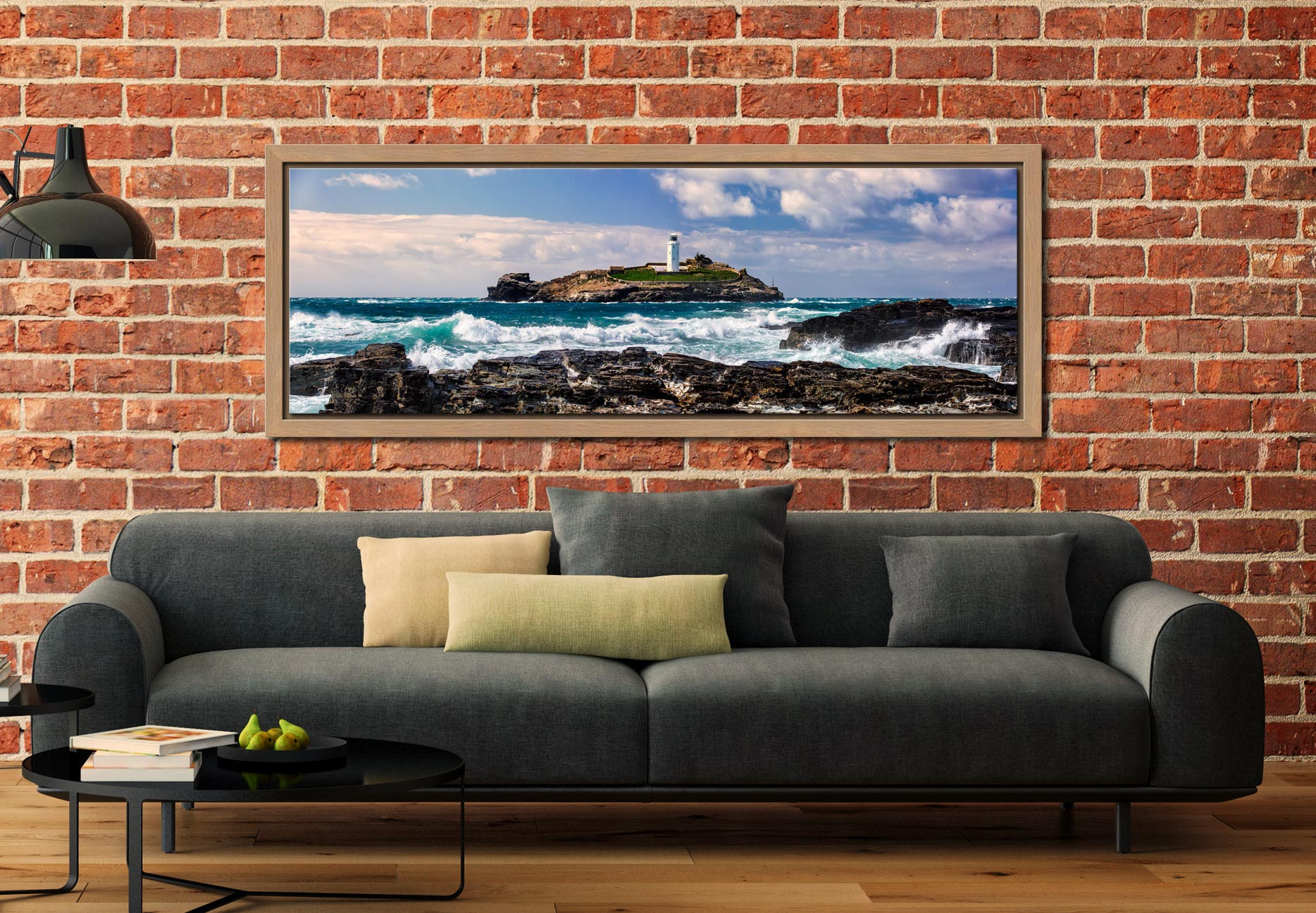 Godrevy Lighthouse and the rocks of Godrevy Point on a breezy spring afternoon - Oak floater frame with acrylic glazing on Wall