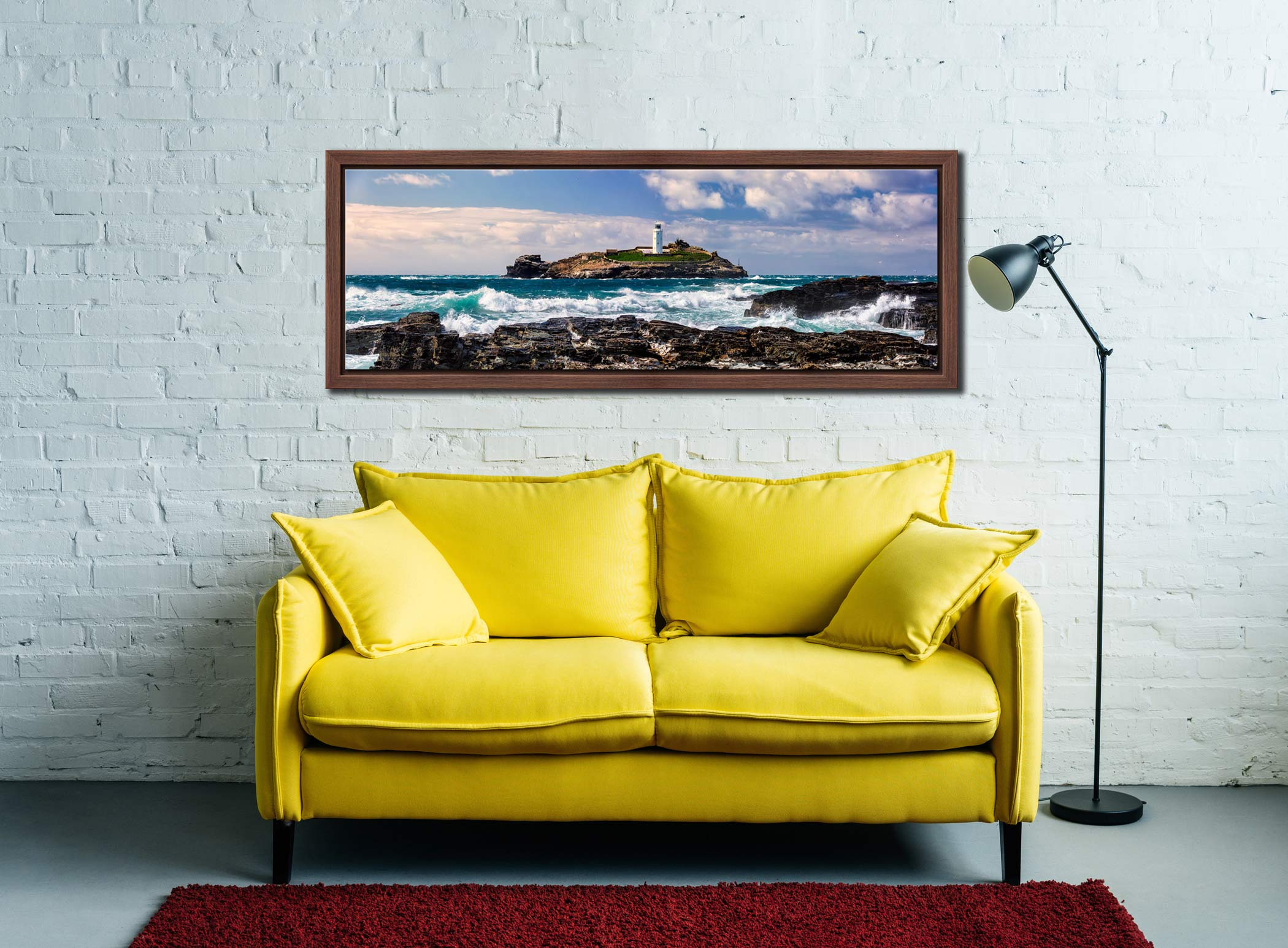 Godrevy Lighthouse and the rocks of Godrevy Point on a breezy spring afternoon - Walnut floater frame with acrylic glazing on Wall