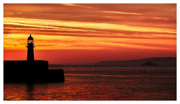 St Ives Lighthouses - Cornwall Print