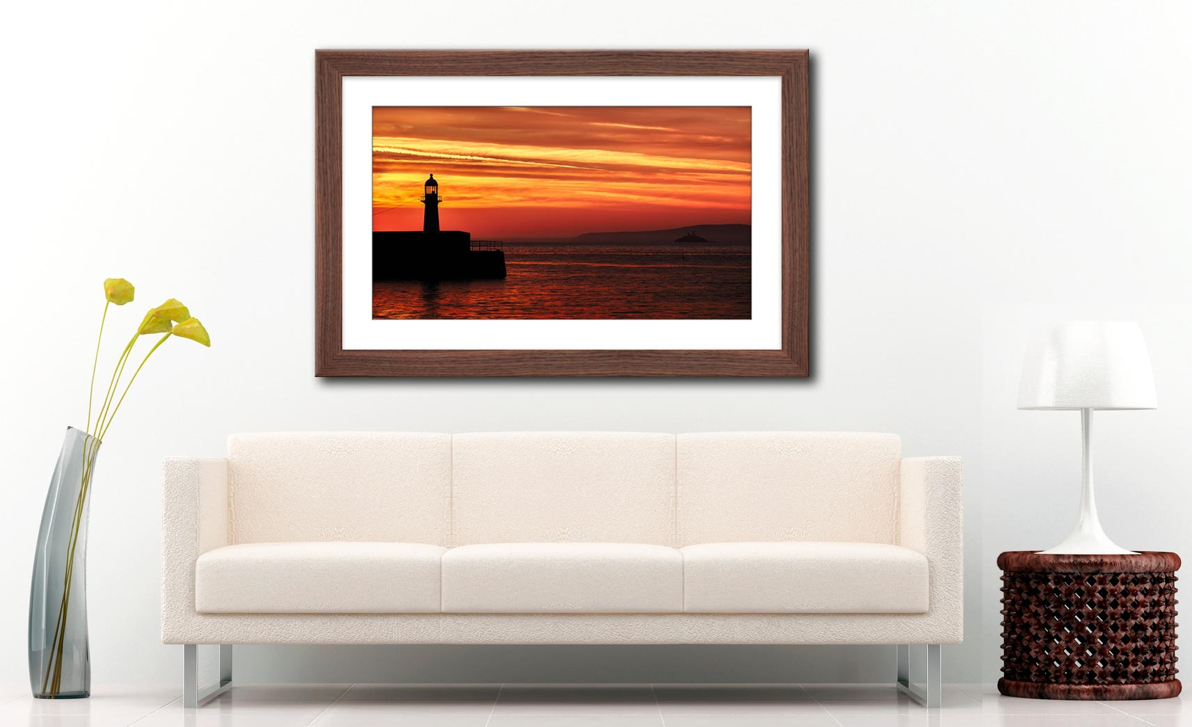 St Ives Lighthouses - Framed Print with Mount on Wall