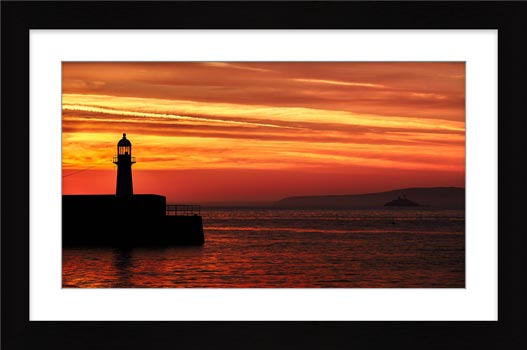 St Ives Lighthouses - Framed Print with Mount