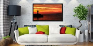 St Ives Lighthouses - Black oak floater frame with acrylic glazing on Wall