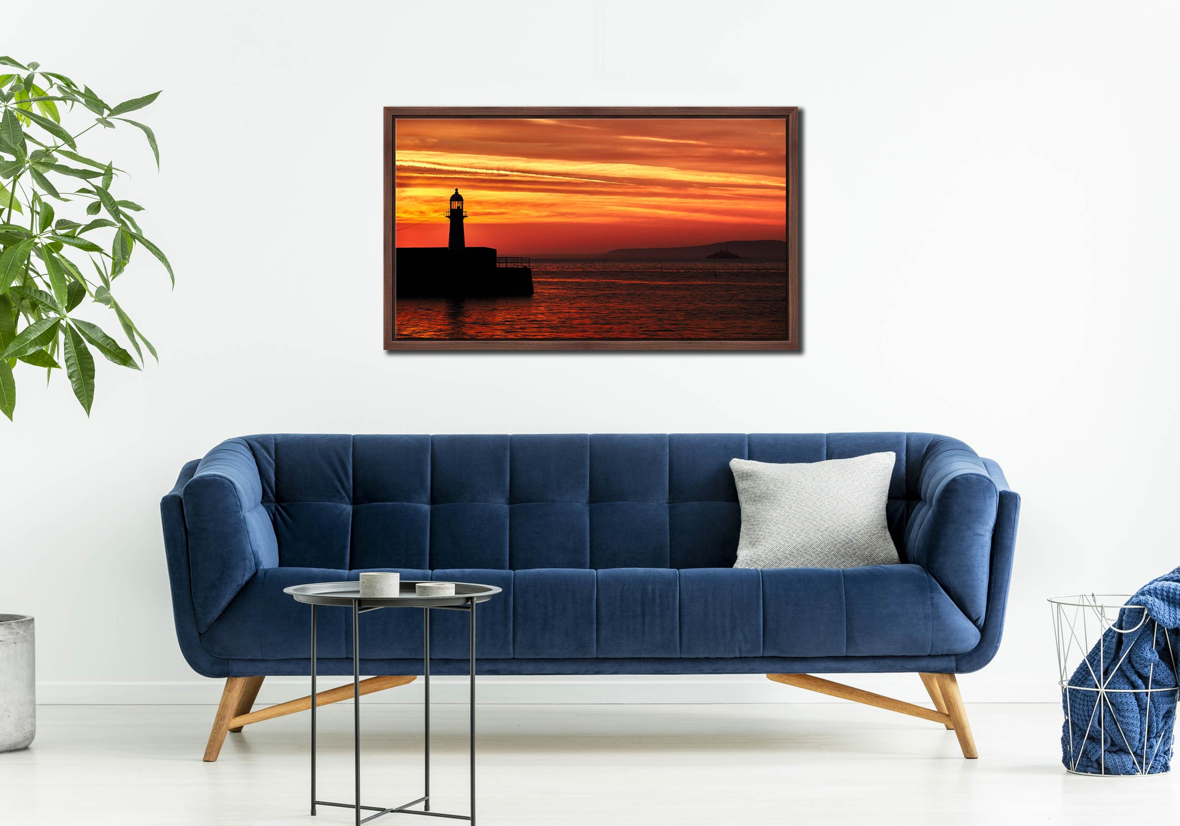 St Ives Lighthouses - Walnut floater frame with acrylic glazing on Wall