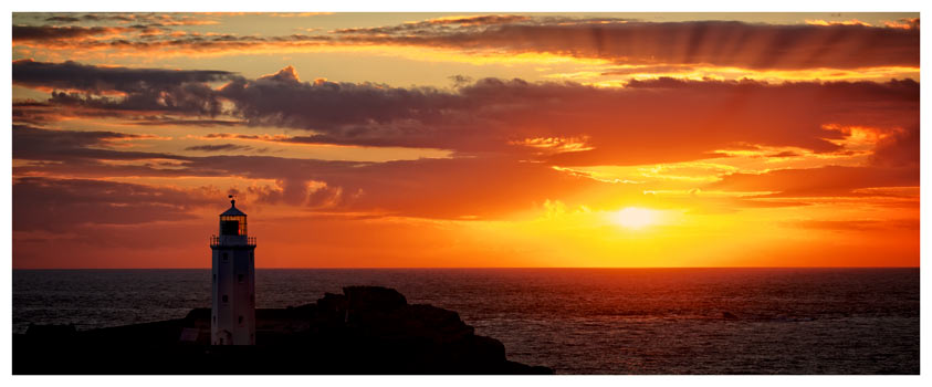 Sun Rays Over Godrevy Lighthouse - Cornwall Print