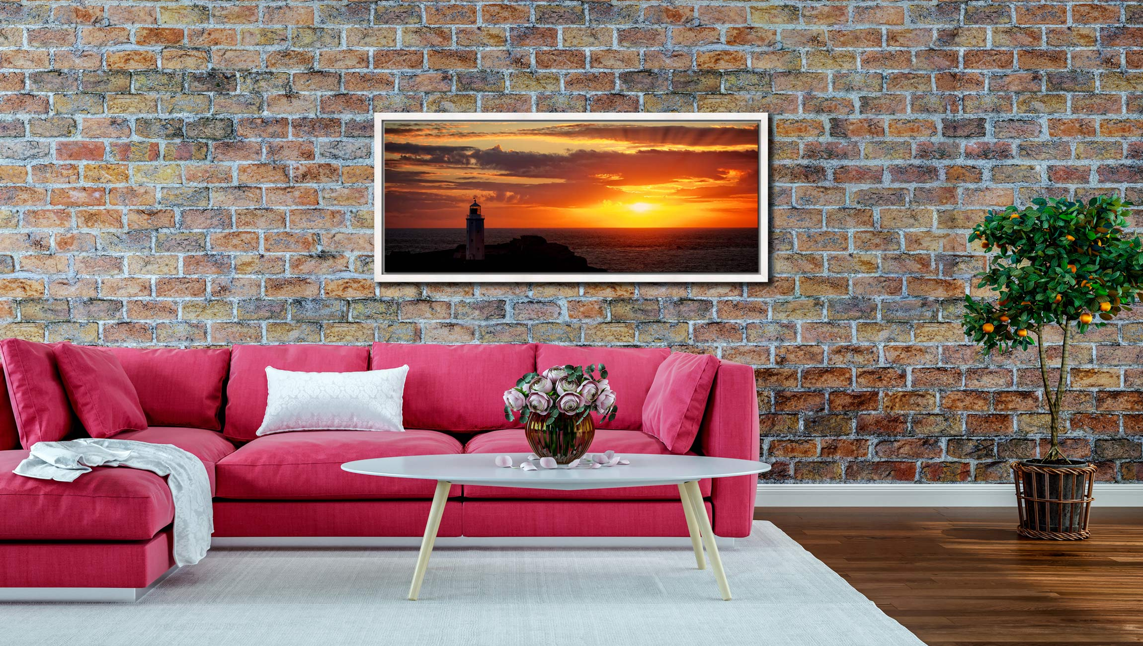 The golden sun beaming across the skies over Godrevy Lighthouse in Cornwall - White Maple floater frame with acrylic glazing on Wall