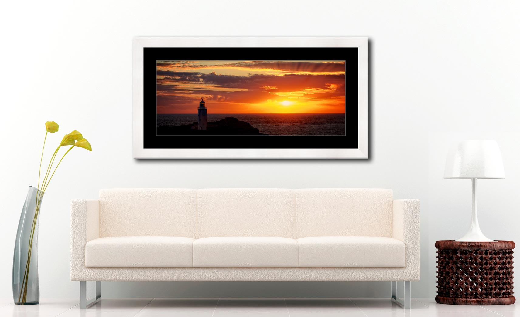 Sun Rays Over Godrevy Lighthouse - Framed Print with Mount on Wall