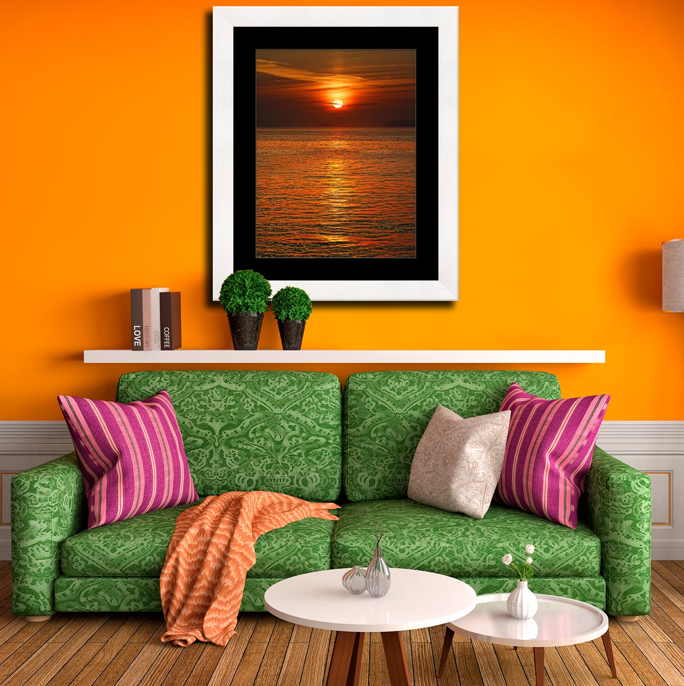 Sunrise Over Godrevy Lighthouse - Framed Print with Mount on Wall