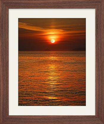 Sunrise Over Godrevy Lighthouse - Framed Print with Mount