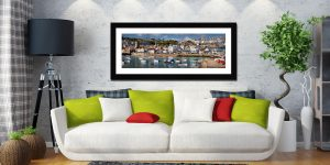 Wharf Road St Ives - Framed Print with Mount on Wall