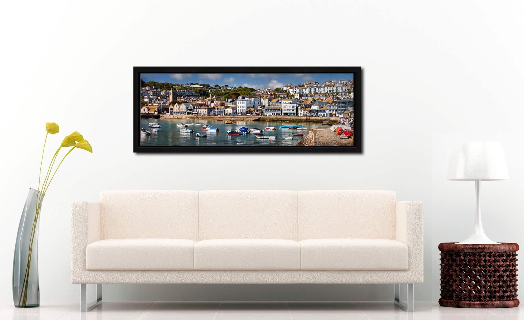 The harbour and Wharf Road in the heart of St Ives - Black oak floater frame with acrylic glazing on Wall