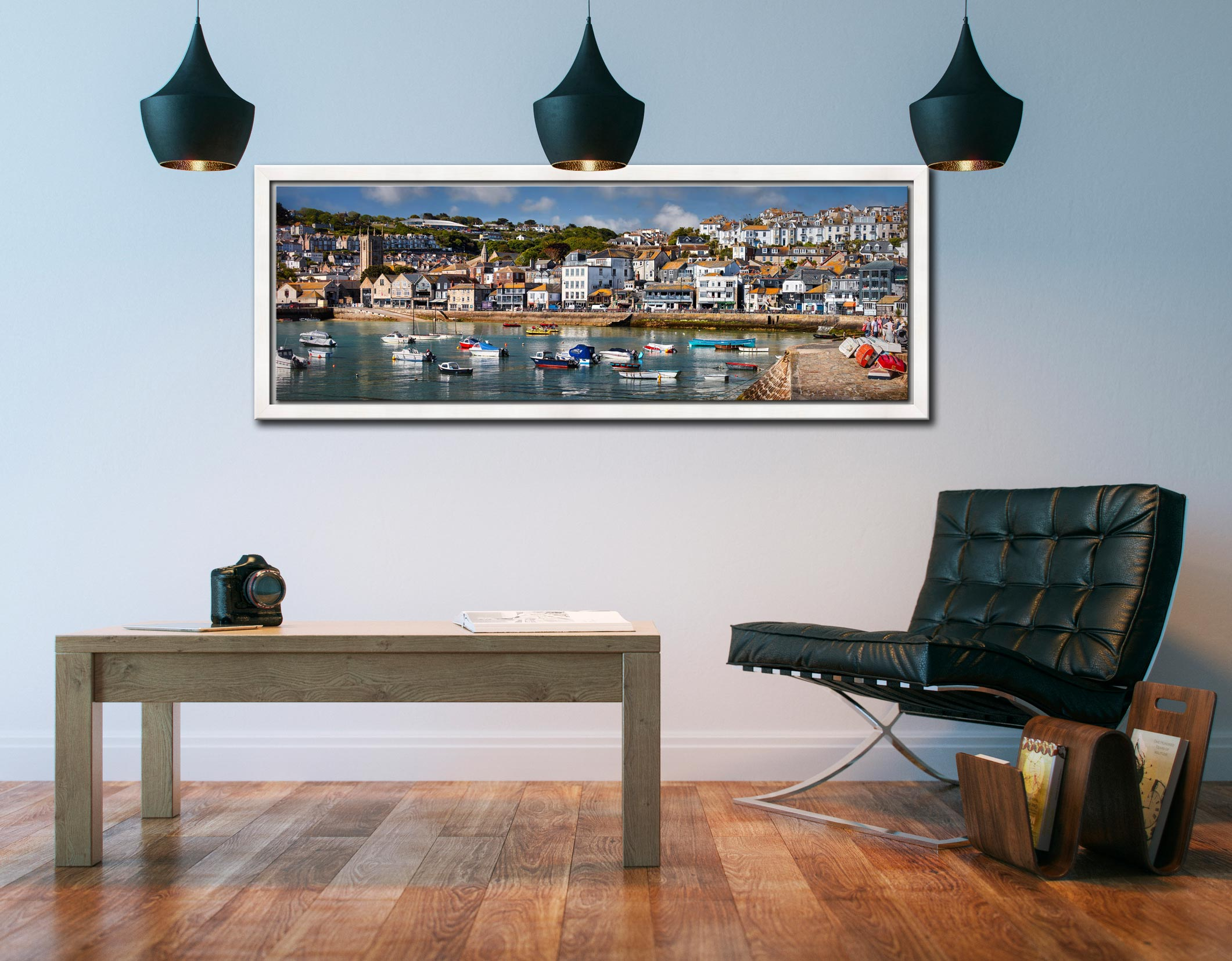 The harbour and Wharf Road in the heart of St Ives - White Maple floater frame with acrylic glazing on Wall