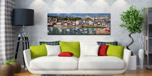 The harbour and Wharf Road in the heart of St Ives - Print Aluminium Backing With Acrylic Glazing on Wall