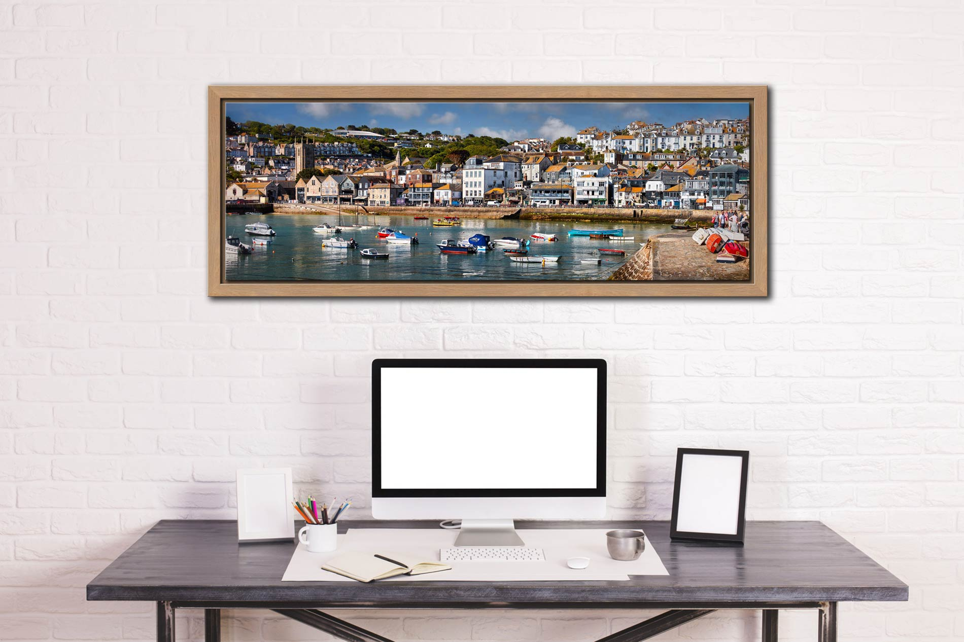 The harbour and Wharf Road in the heart of St Ives - Oak floater frame with acrylic glazing on Wall