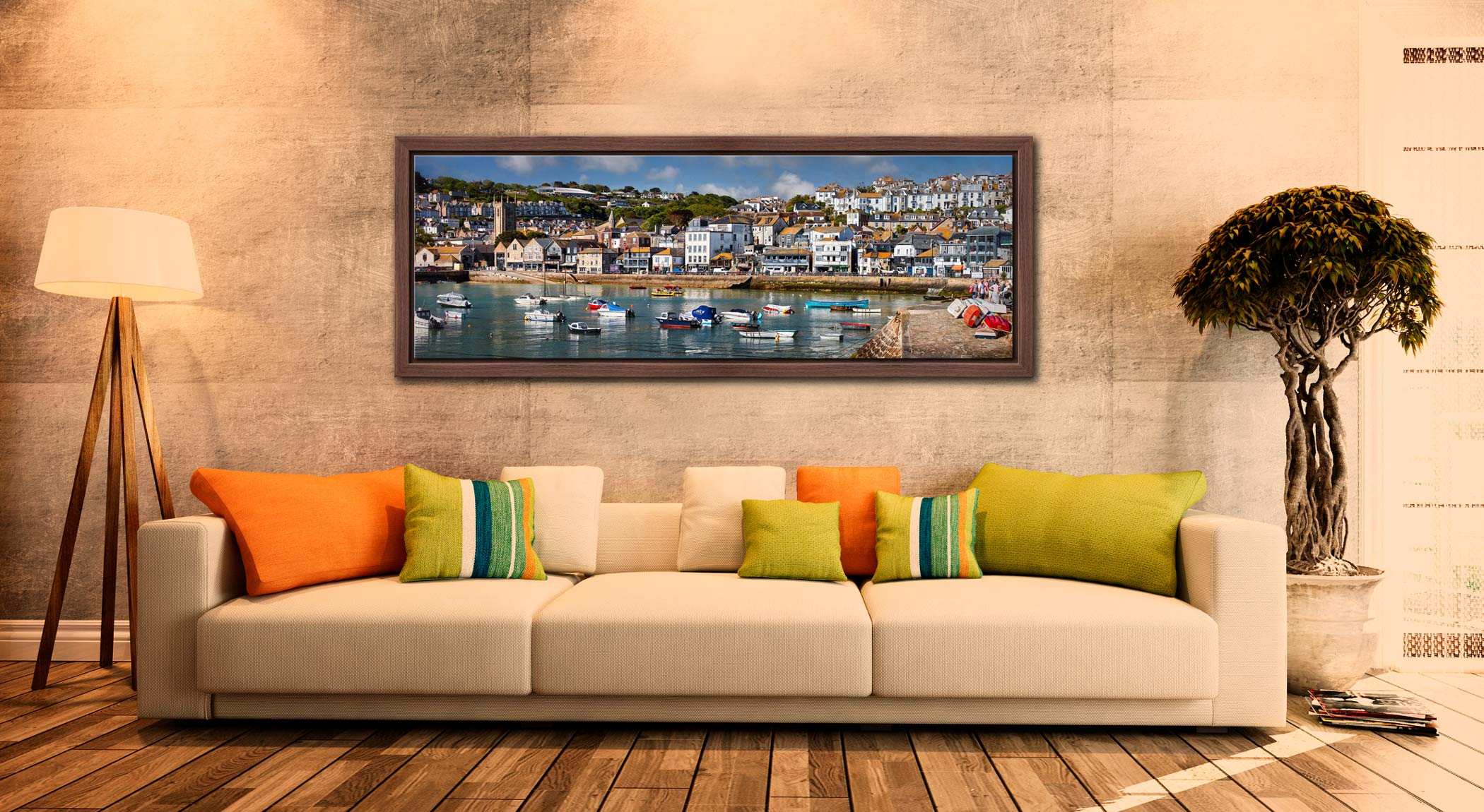 The harbour and Wharf Road in the heart of St Ives - Walnut floater frame with acrylic glazing on Wall