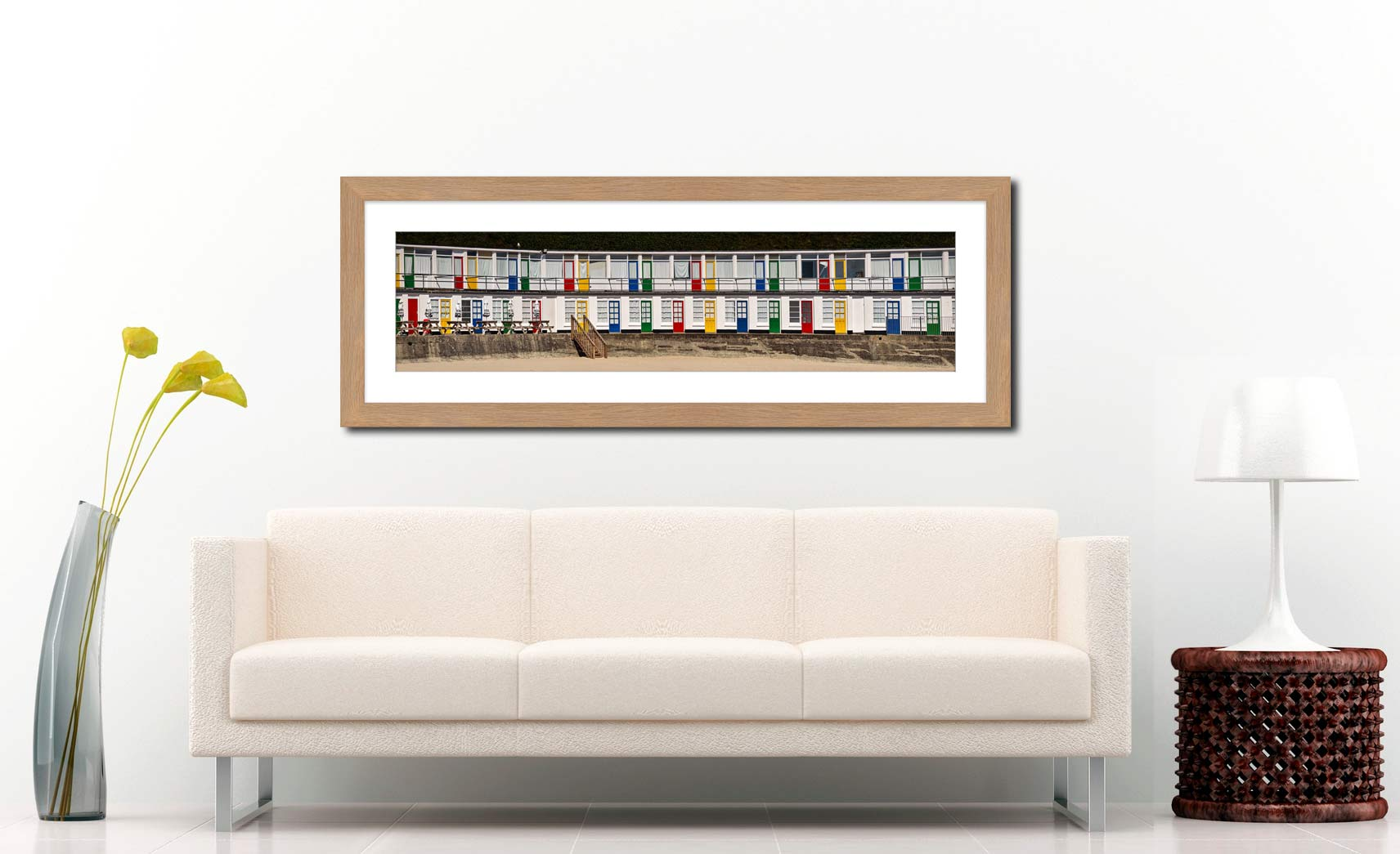 Porthgwidden Beach Chalets - Framed Print with Mount on Wall