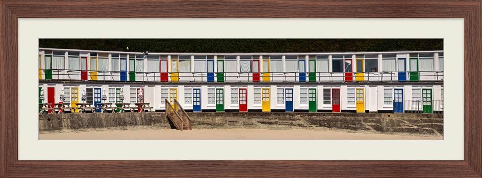Porthgwidden Beach Chalets - Framed Print with Mount