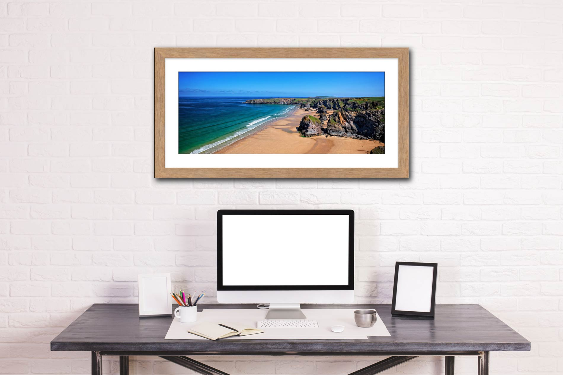 Bedruthan Beach Cornwall - Framed Print with Mount on Wall
