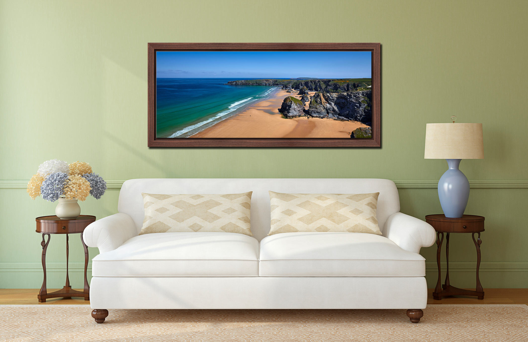 Beach and rock stacks at Bedruthan Steps in Cornwall on a beautiful sunny day - Walnut floater frame with acrylic glazing on Wall