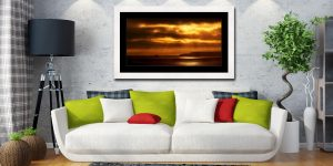 Golden Lighthouse St Ives Bay - Framed Print with Mount on Wall