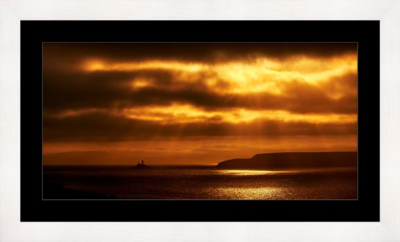 Golden Lighthouse St Ives Bay - Framed Print with Mount