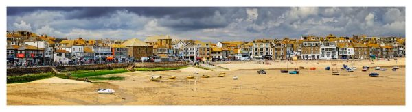 St Ives Harbour Beach Panorama - Cornwall Print