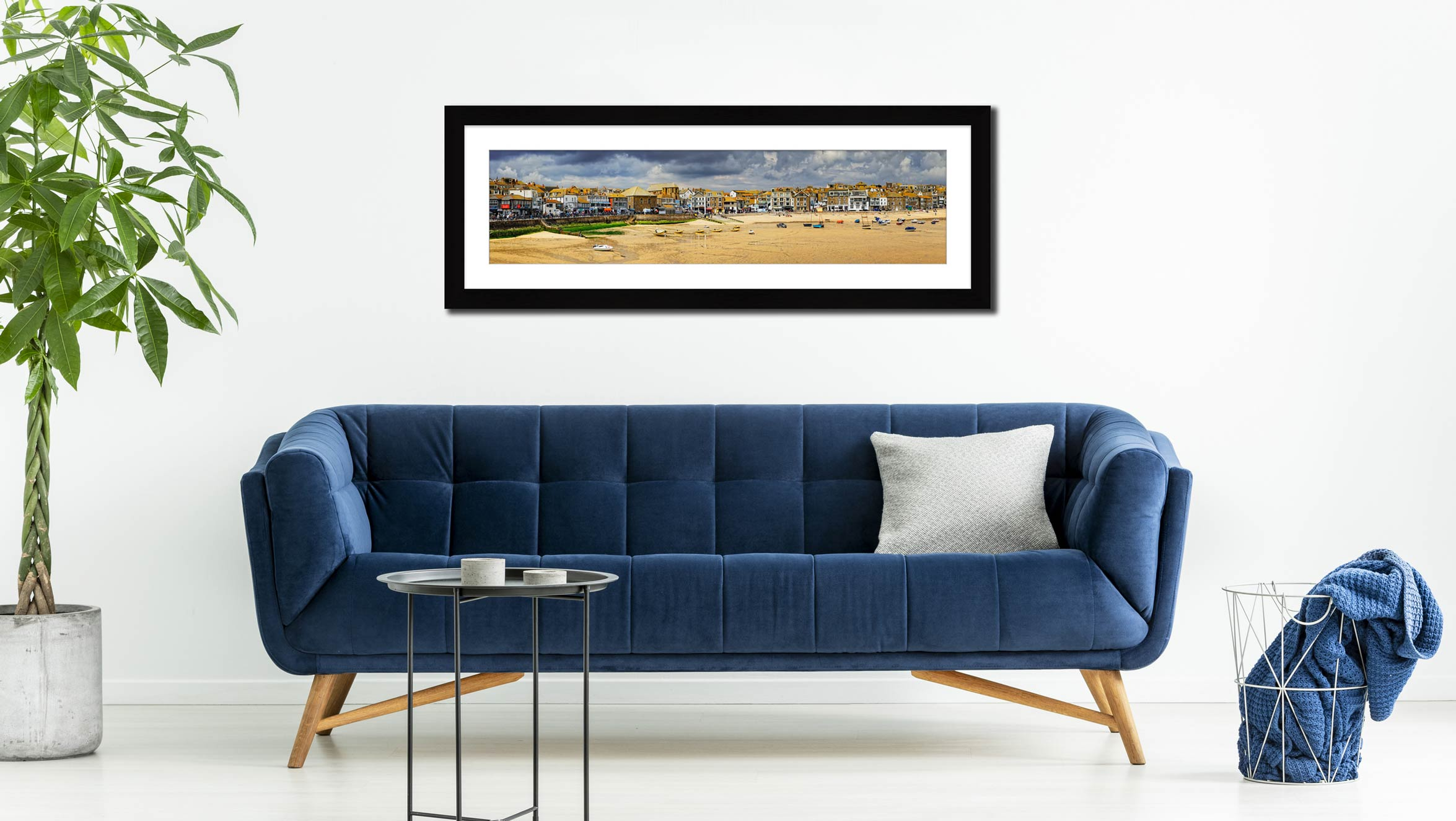 St Ives Harbour Beach - Framed Print with Mount on Wall