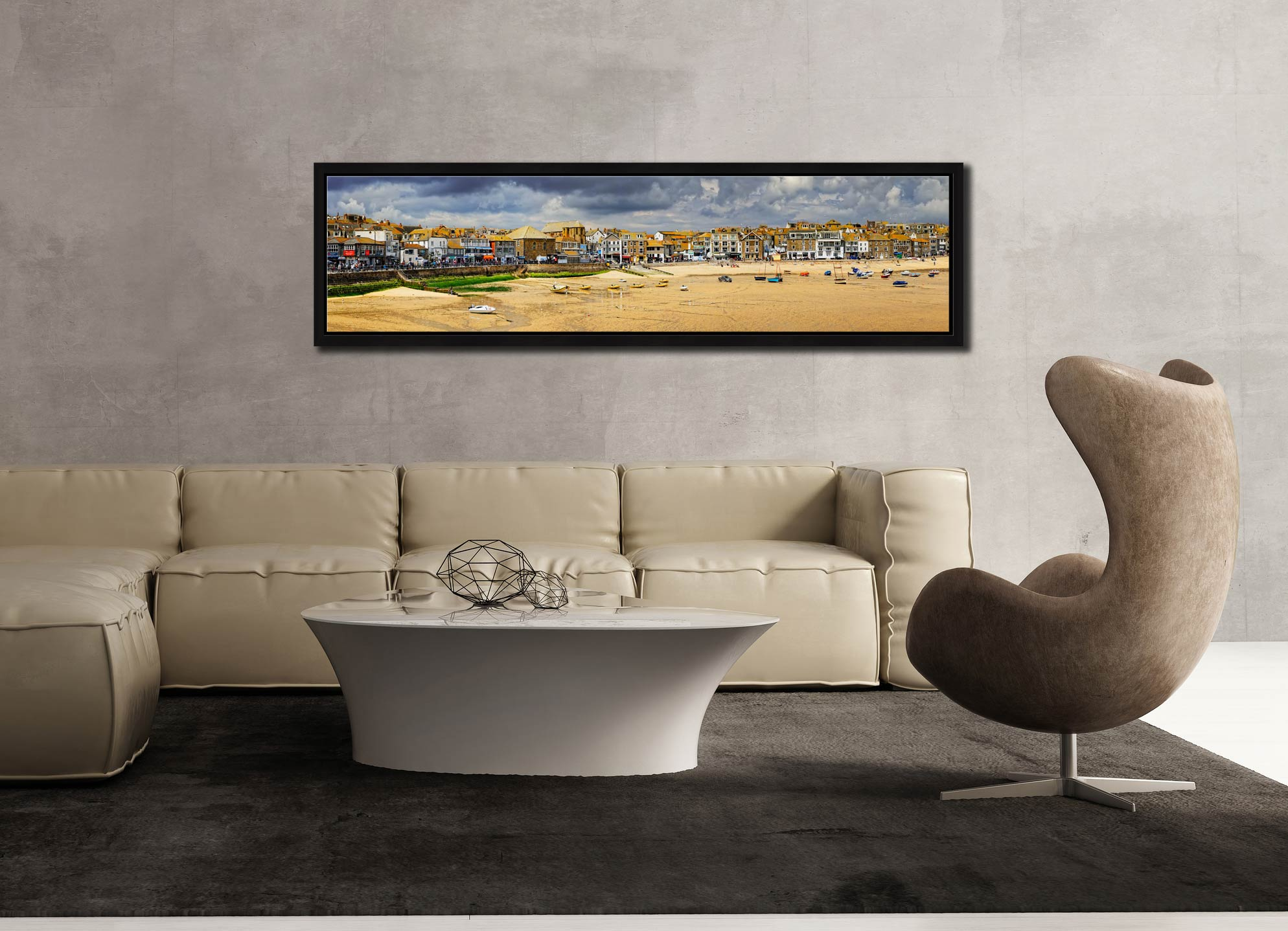 St Ives Harbour Beach Panorama - Black oak floater frame with acrylic glazing on Wall