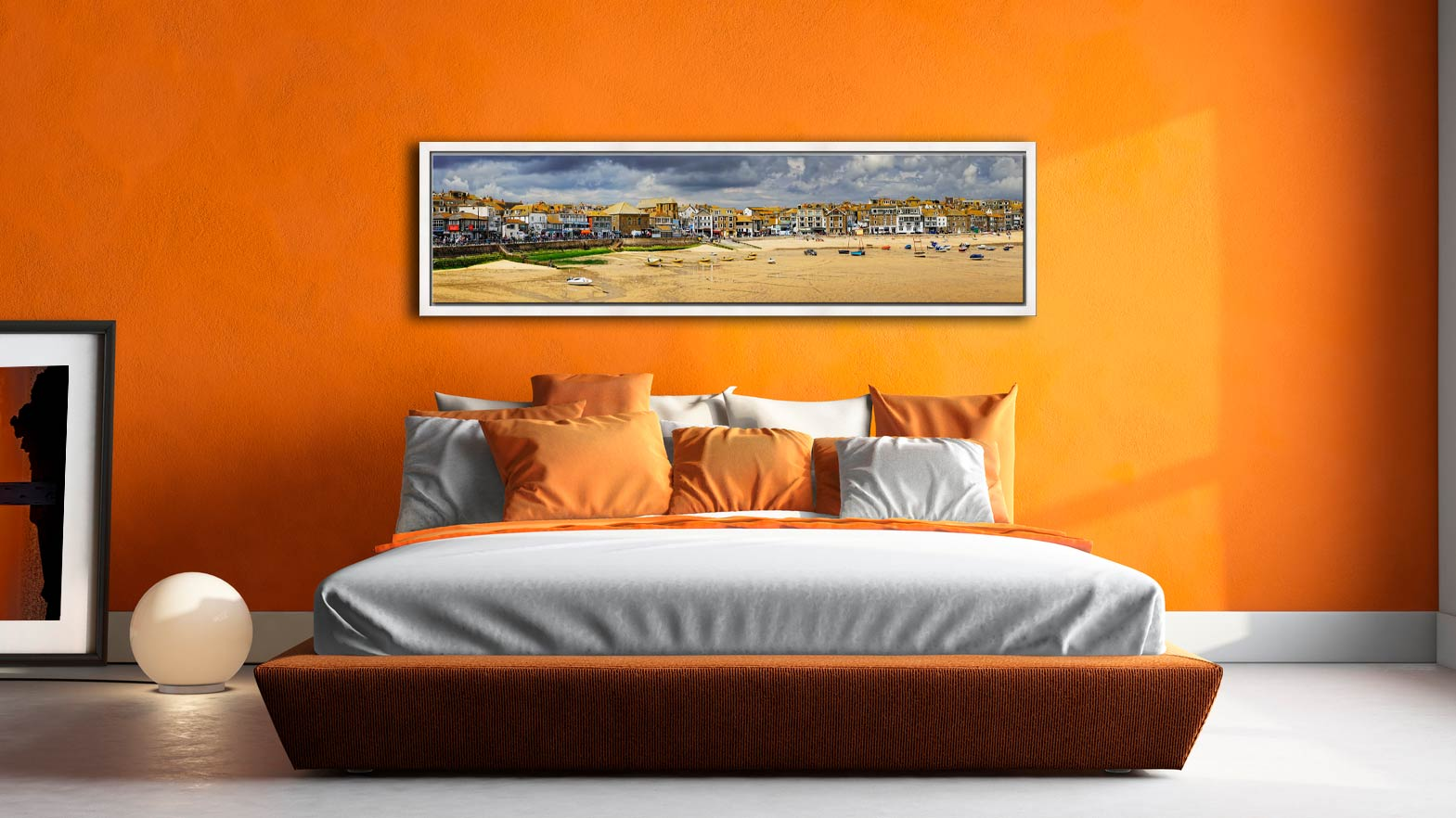 St Ives Harbour Beach Panorama - Maple floater frame on Wall