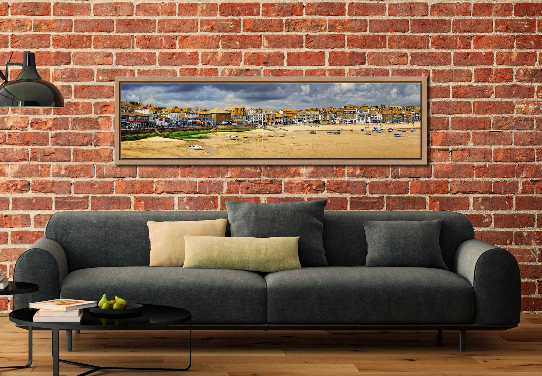 St Ives Harbour Beach Panorama - Oak floater frame with acrylic glazing on Wall