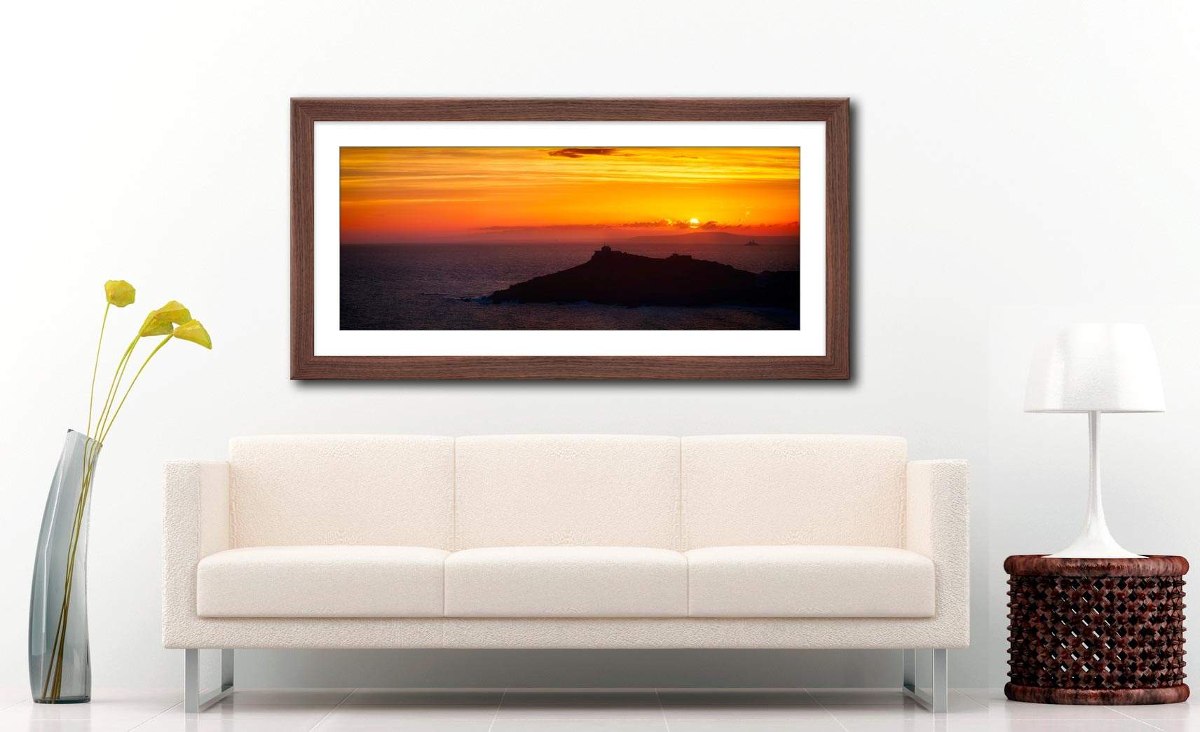 Sunrise Over St Ives Island - Framed Print with Mount on Wall