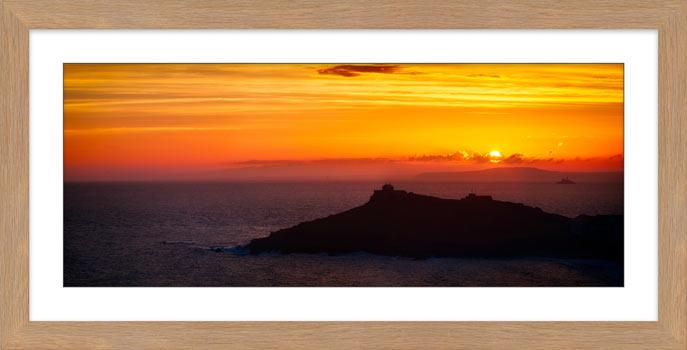 Sunrise Over St Ives Island - Framed Print with Mount