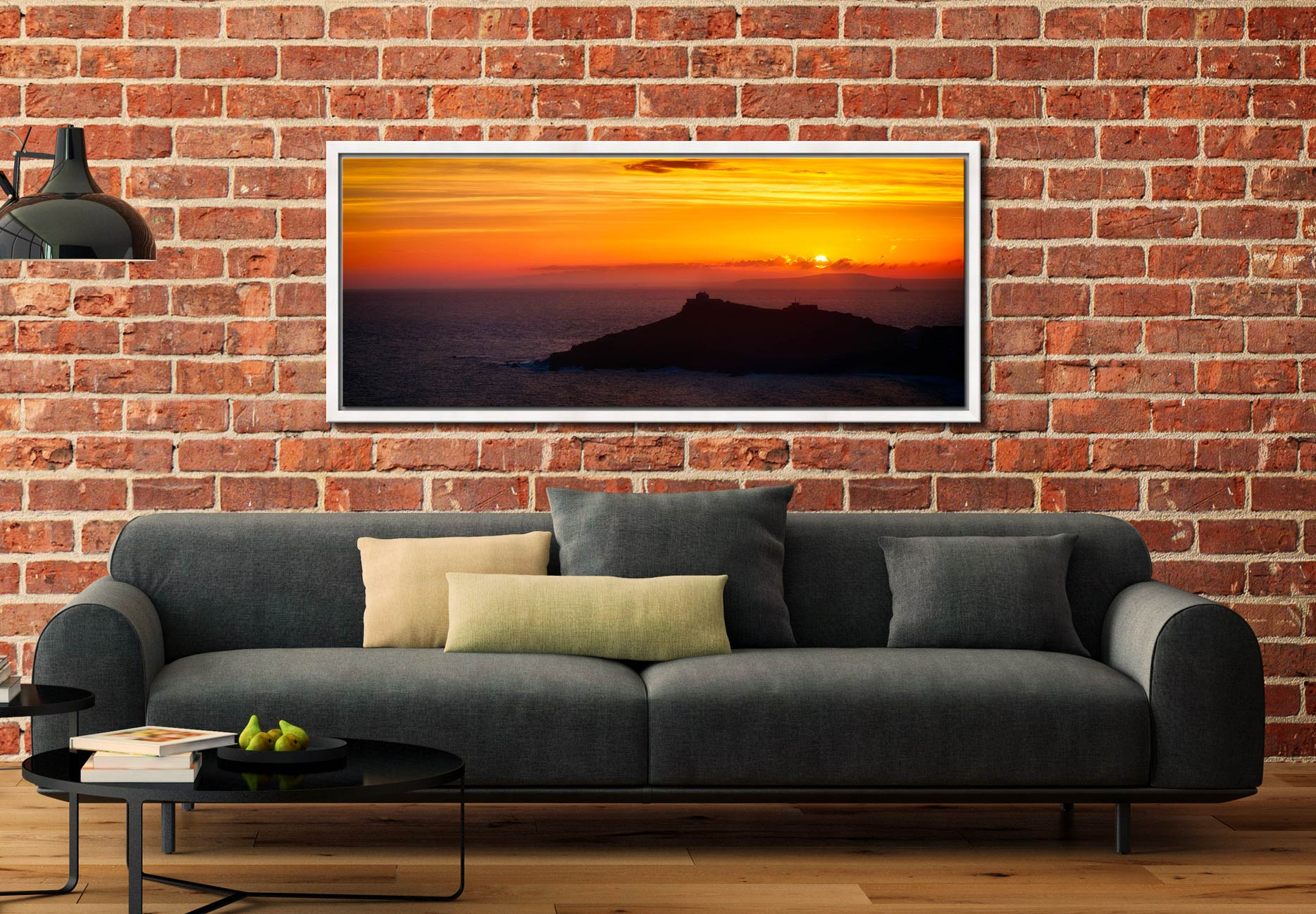 The sun rising over Godrevy Lighthouse and the Island in St Ives, Cornwall - White Maple floater frame with acrylic glazing on Wall