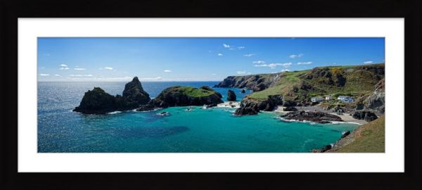 Kynance Cove Panorama - Framed Print with Mount
