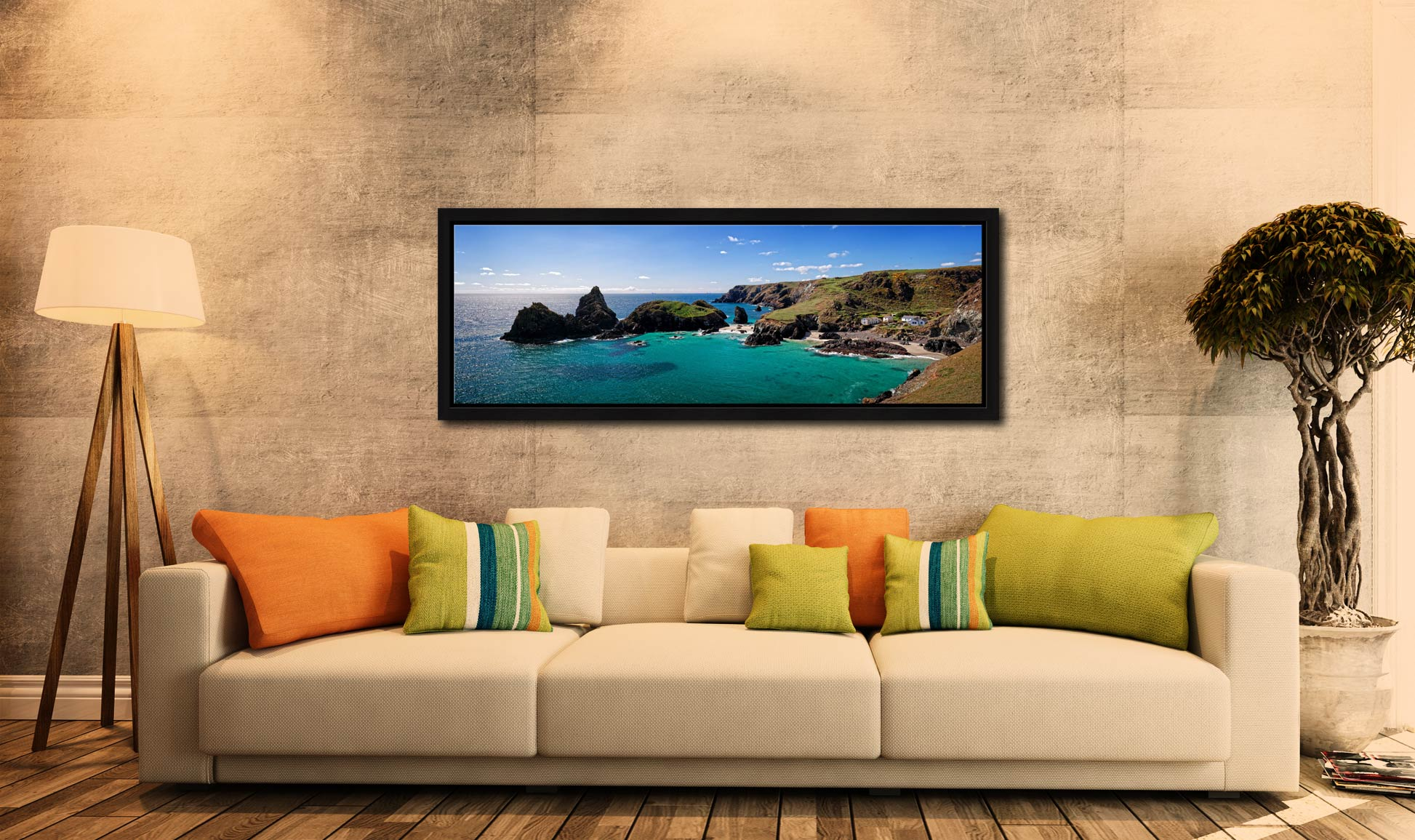 The rock stacks and small islands off Kynance Cove on the Lizard in Cornwall - Black oak floater frame with acrylic glazing on Wall
