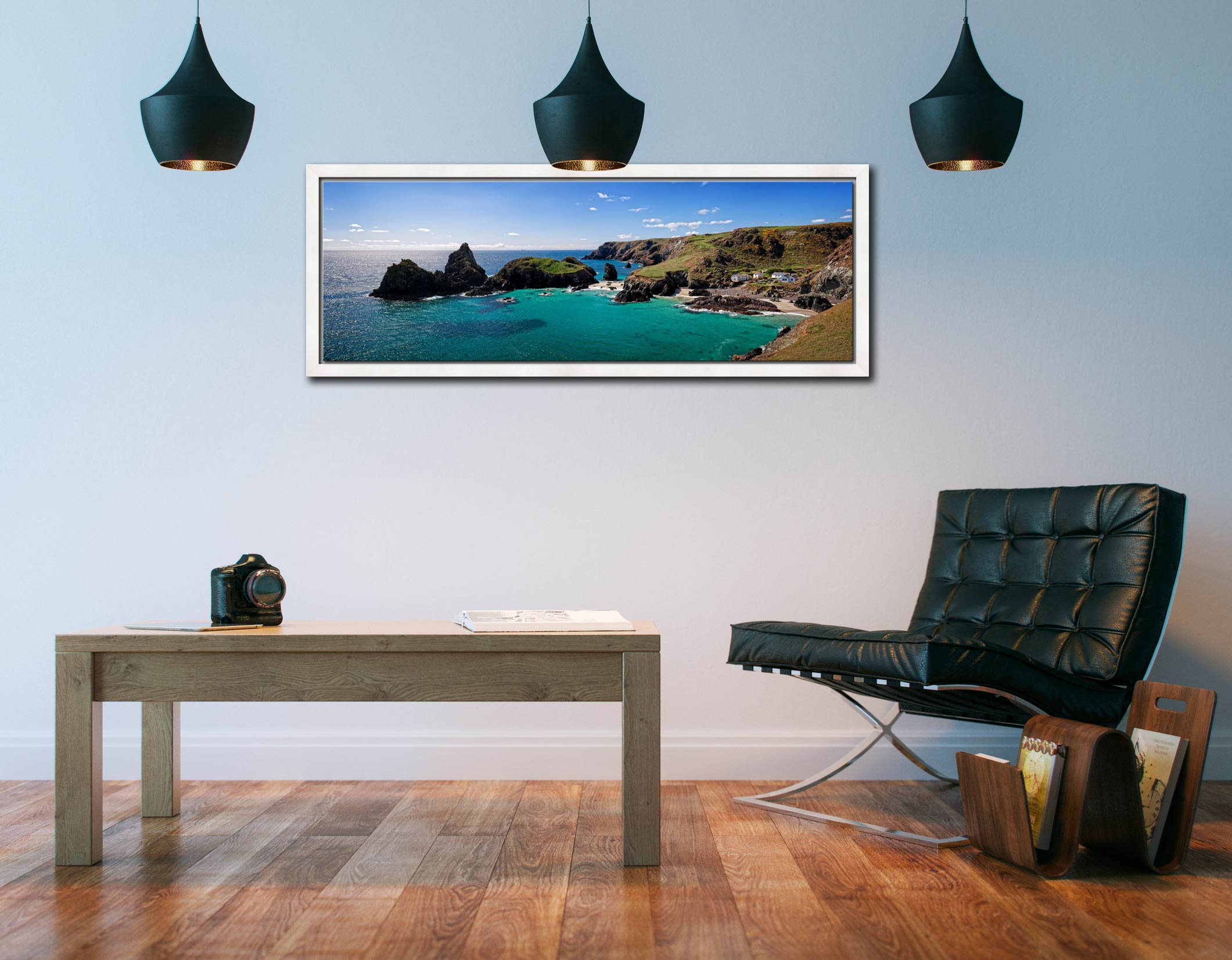 The rock stacks and small islands off Kynance Cove on the Lizard in Cornwall - White Maple floater frame with acrylic glazing on Wall