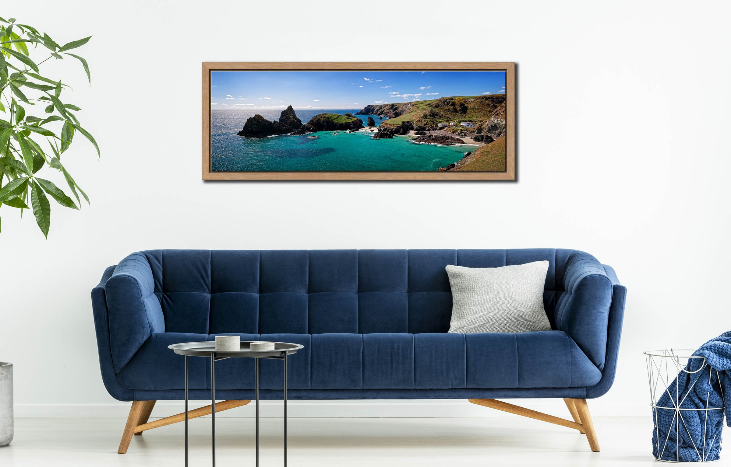 The rock stacks and small islands off Kynance Cove on the Lizard in Cornwall - Oak floater frame with acrylic glazing on Wall