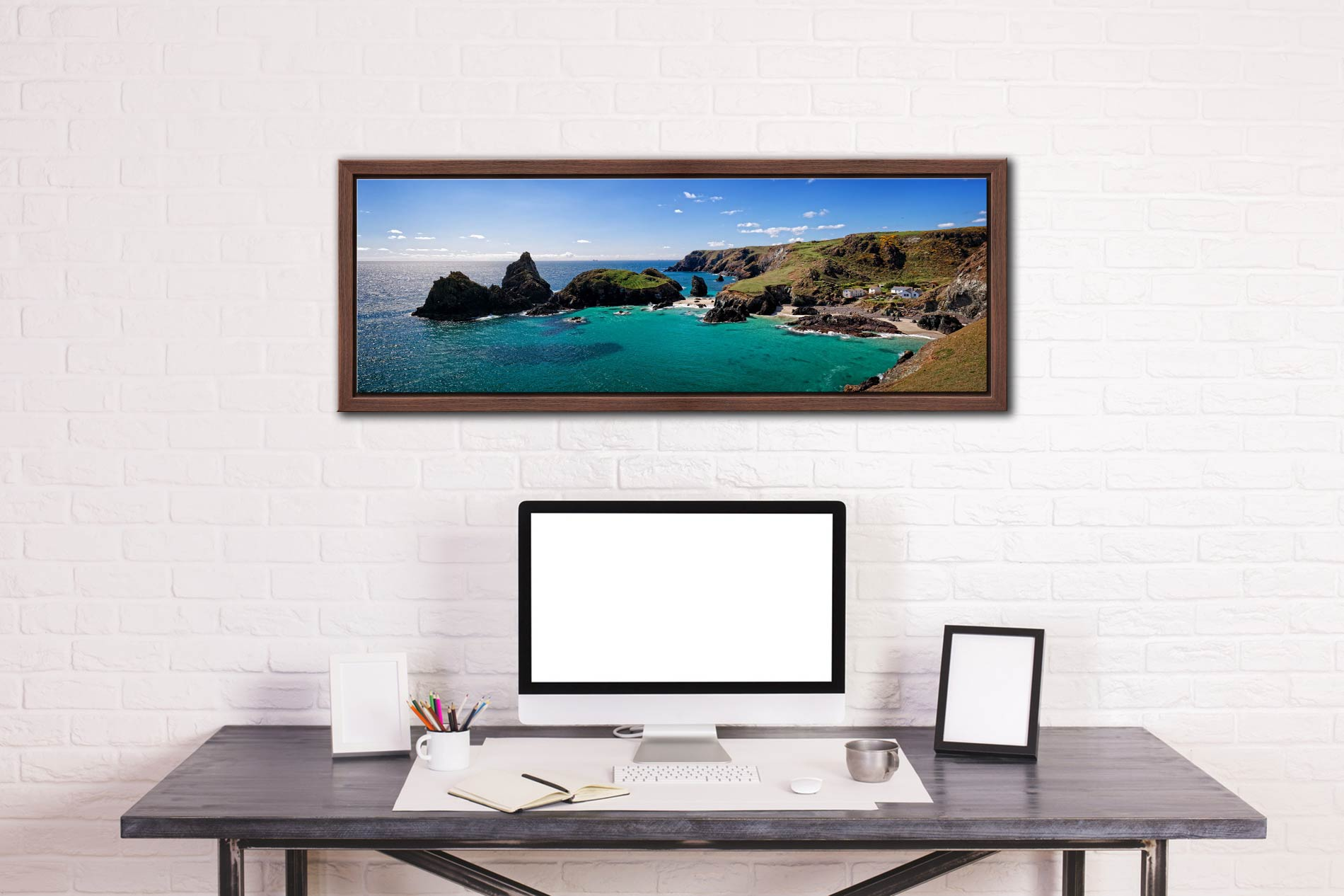 The rock stacks and small islands off Kynance Cove on the Lizard in Cornwall - Walnut floater frame with acrylic glazing on Wall