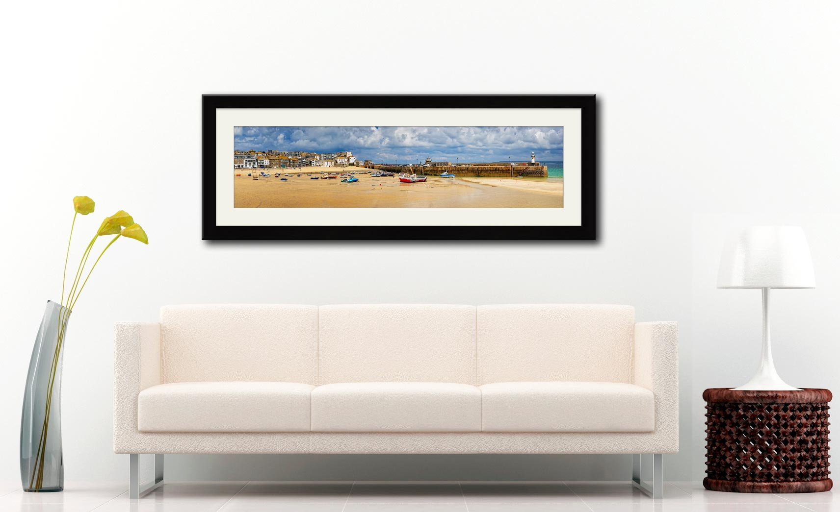 St Ives Cloudy Panorama - Framed Print with Mount on Wall