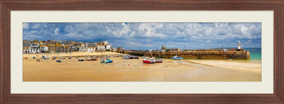 St Ives Cloudy Panorama - Framed Print with Mount