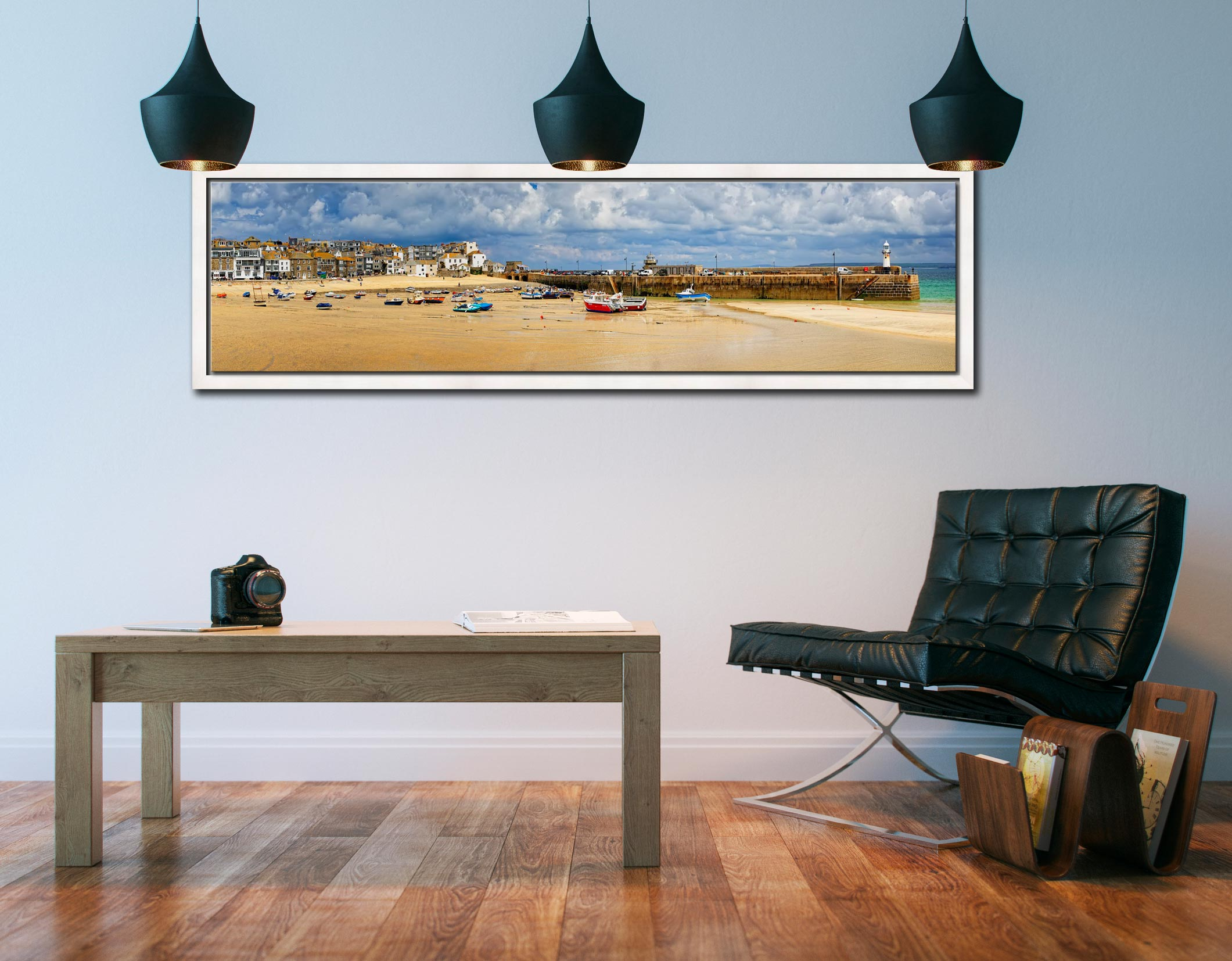 St Ives Cloudy Panorama - White Maple floater frame with acrylic glazing on Wall