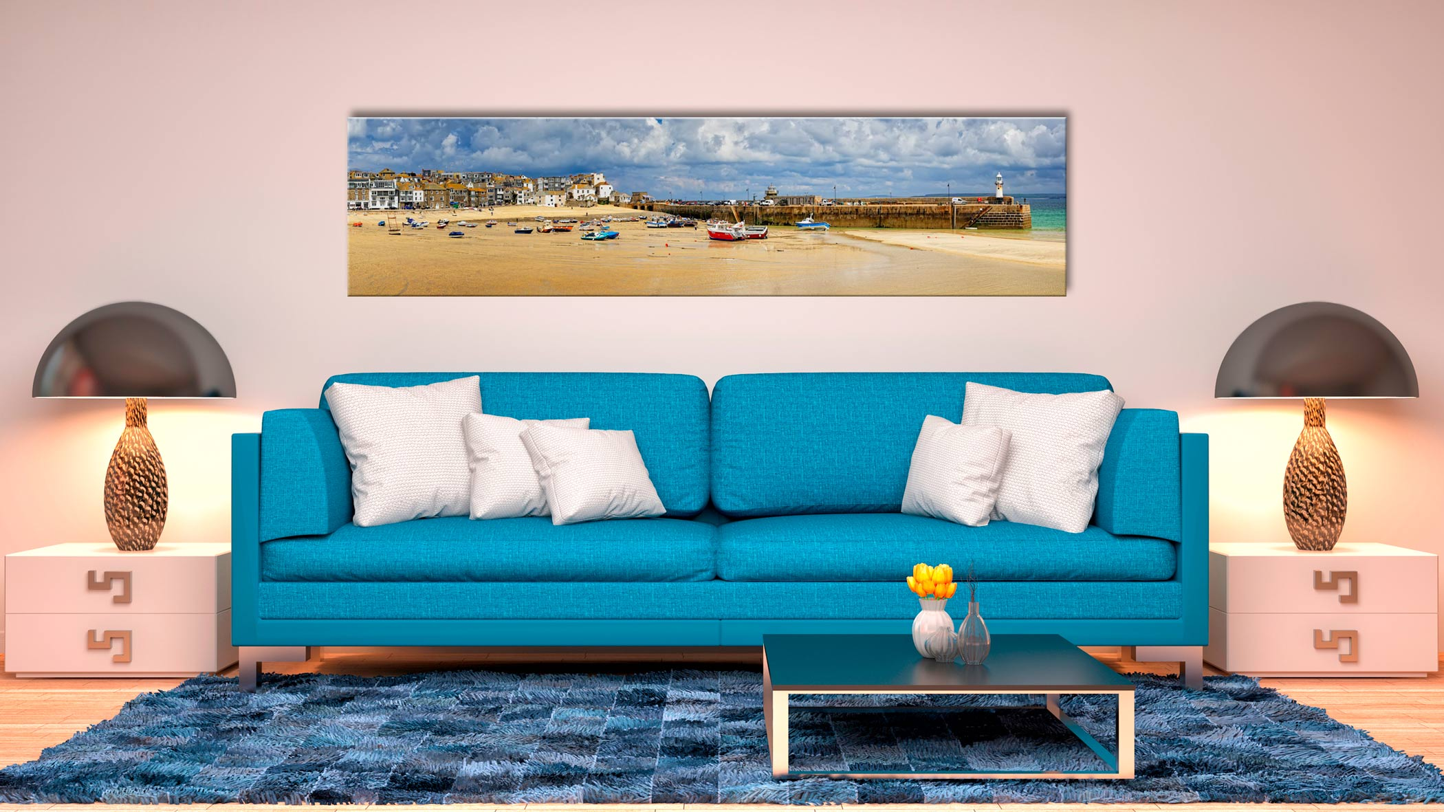 St Ives Cloudy Panorama - Print Aluminium Backing With Acrylic Glazing on Wall