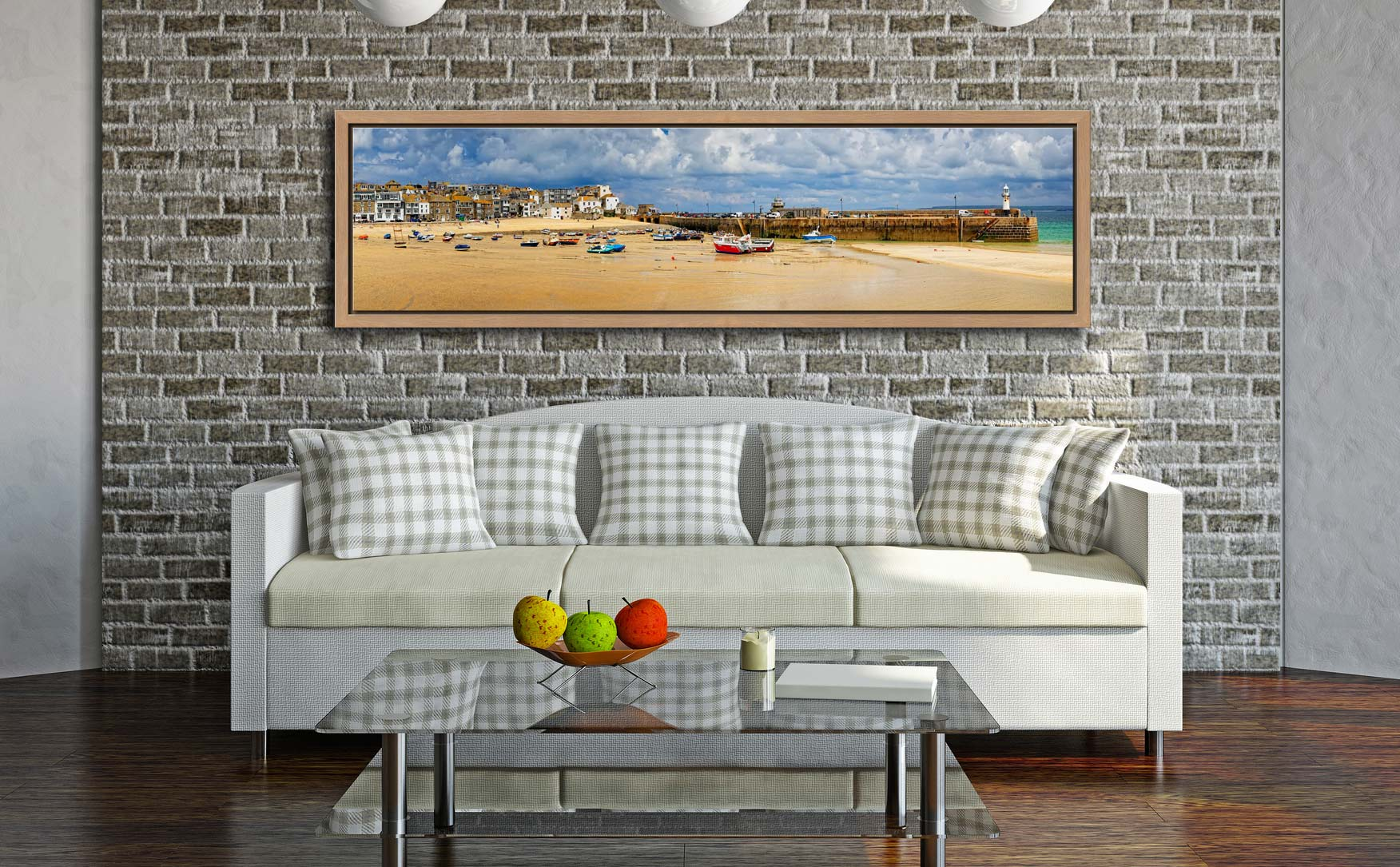 St Ives Cloudy Panorama - Oak floater frame with acrylic glazing on Wall